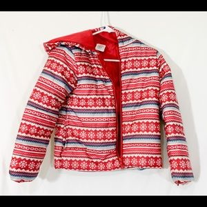 Gymboree- red and blue winter snowflake coat